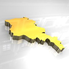 Free 3d Golden Map Of Armenia Stock Images - 5038634