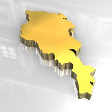 Free 3d Golden Map Of Armenia Royalty Free Stock Images - 5038639