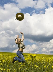 Free Young Girl In Summer Field Royalty Free Stock Photo - 5038645