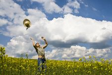 Young Girl In Summer Field Stock Images