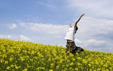 Young Attractive Man In Summer Field Stock Image