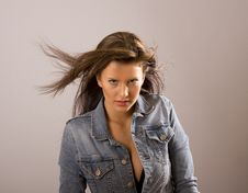 Free Brunette With Hair Blowing And Jacket Open Royalty Free Stock Images - 5039329