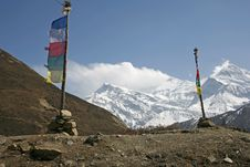 Praying Flags And Poles In Annapurna Stock Image