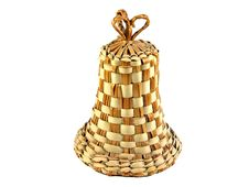 Handmade Straw Bell Isolated Stock Images