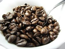 Natural Coffee Beans And Spoon 4 Stock Photo