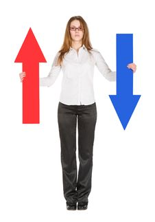Businesswoman Holding Arrows Stock Photos