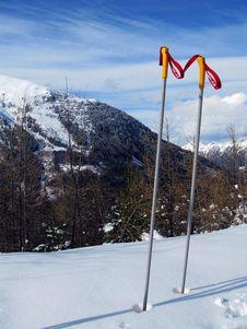 Free Ski Poles On A Mountain Stock Photo - 5041170