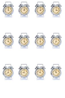 Free Group Of Alarm Clock With Times 12 Clock Royalty Free Stock Photos - 5042008