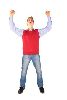 Free Boy In Red Jacket Hand Up Royalty Free Stock Photos - 5042528