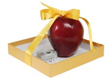 Red Apple In Box With Tape-line Like Gift Stock Images