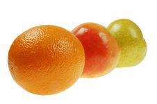 Free Colorful Pears And  Orange Royalty Free Stock Photo - 5043645