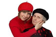 Free Happy Grandmother And Granddaughter With Berets Stock Photo - 5043650