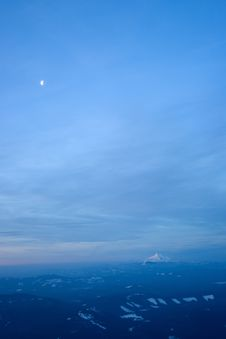 Mount Jefferson In The Distance Under The Moon Royalty Free Stock Photos