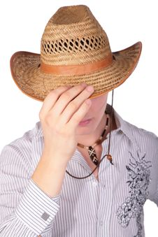 Boy Hide Gace With Hat Royalty Free Stock Photo