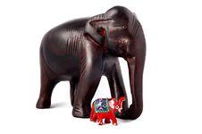 Free Two Sandal Wood Elephant Stock Photo - 5045450