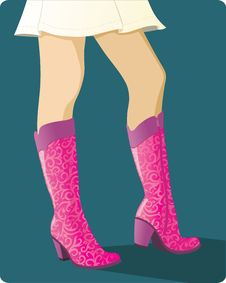 Glamour Pink Boots Royalty Free Stock Images