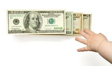Free Child S Hand Reaching US Dollars In Ladder Royalty Free Stock Photography - 5047207