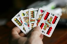 Free Playing Cards In Hand Royalty Free Stock Photos - 5047248