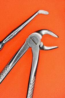 Free Stomatologic Tools On An Orange Background Stock Photography - 5047562