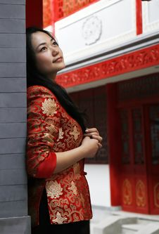A Red Clothing Girl Of China Stock Image