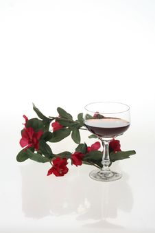 Wine And Flowers Stock Photo