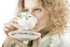 Free Woman Drinks From A Cup Stock Photos - 5050233