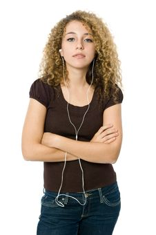 Free Listening To An MP3 Player Stock Image - 5051651