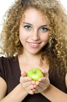 Free Holding An Apple Stock Image - 5051661