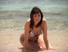 Woman Enjoying The Sun On Vacation Stock Photos