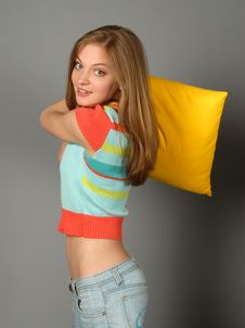 Free Girl And Pillow Royalty Free Stock Image - 5053296