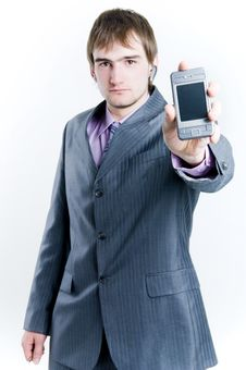 Free Businessman Showing Phone Stock Photos - 5053803