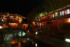 NIGHTSCENE AT LIJIANG HISTORICAL CITY Stock Photos