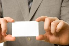 Free Blank Business Card In Hands Stock Photo - 5054730