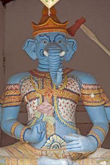 Free Buddhist Statue - Blue Elephant Stock Photography - 5054932