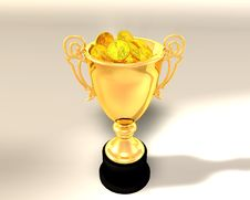 Free Trophy Cup And Coins Stock Image - 5055361