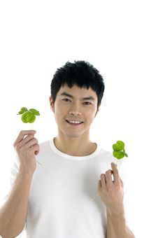 Man Holding Up A Green Leaf Royalty Free Stock Photos