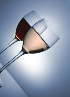 Free Two Glasses. Red And Pink Wine Royalty Free Stock Photo - 5058015