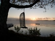 Hammok Sunrise On Lake Stock Image