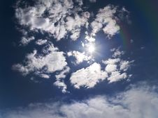 Free Deep Blue Sky With Sun Stock Photography - 5058682