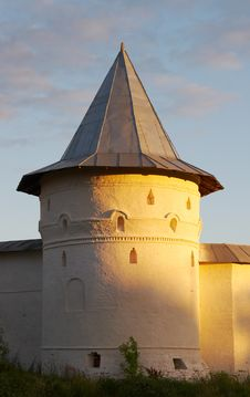 White Round Tower In The Evening Stock Photos