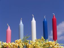 Free Candles Against The Blue Sky Royalty Free Stock Photography - 5059047