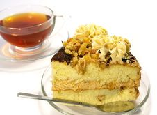 Cup Of Tea And Cake Isolated Stock Photography