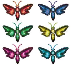 Colours Butterflies On White Background. Royalty Free Stock Photo