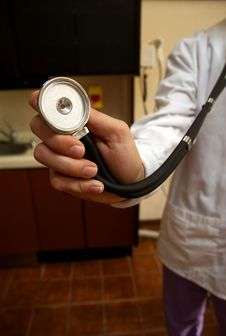 Free Stethoscope On Doctor In White Lab Coat Royalty Free Stock Photos - 5059358