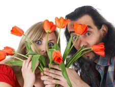 Free Pair With Flowers Royalty Free Stock Photography - 5059827