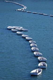 Free White Boats On Blue Sea Stock Image - 5060931