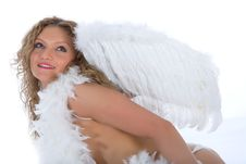 Portrait Of The Nude Blonde-angel With Blue Eyes Royalty Free Stock Photo