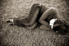 Free Young Woman On The Grass Royalty Free Stock Images - 5063399