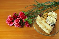 Carnations And Cake Stock Images