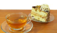 Cup Of Tea And Cake On White Background Royalty Free Stock Image